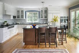 White Kitchen Black Island Dark Island White Cabinets Houzz