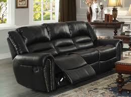 Black Leather Reclining Sofa And Loveseat Homelegance Center Hill Double Reclining Sofa Black Bonded