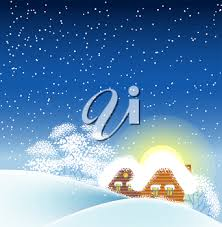 vector illustration of winter landscape with houses winter