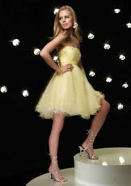 strapless short length yellow prom dress zoombridal com prlog