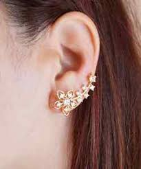 earrings cuffs flower ear climber floral ear crawler gold ear wraps ear