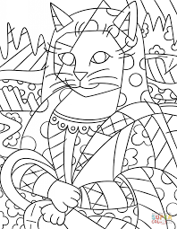 mono cat by romero britto painting coloring page art u0026 culture