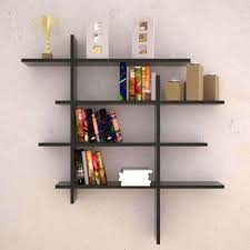 simple black stained solid wood decorative wall mounted shelf for