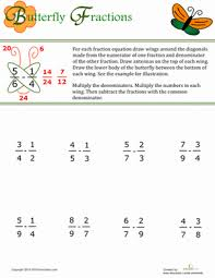 butterfly method for fractions worksheet education com