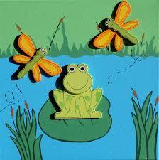 cute 3d frog dragonfly pond baby nursery art kids decor 12x12