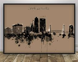 Home Decor Jacksonville Fl Jacksonville Florida Skyline Canvas 12 X 4 Inches White With