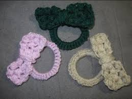 crochet bands puff stitch bow on a rubber band crochet tutorial summer
