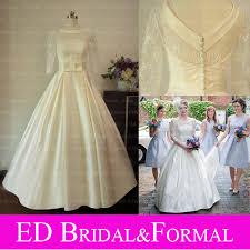 50 s style wedding dresses three quarter sleeve wedding dress bateau neckline illusion