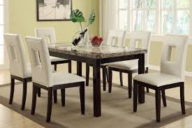 Dining Room Sets 6 Chairs by Amazon Com Poundex F2094 U0026 F1052 Faux Marble Top W White