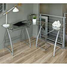 Modern Corner Desk by Walker Edison Glass Metal Silver Corner Computer Desk Amazon Ca