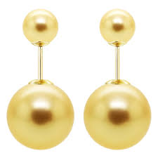 front and back earrings davonna 14k yellow gold shell pearl front and back stud earring