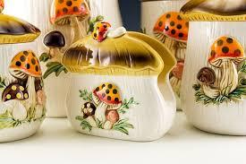 retro mushroom kitchen canister set plus napkin holder retro art