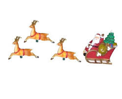 Lighted Santa And Reindeer Outdoor by Amazon Com Set Of 10 Santa Sled And Reindeer Christmas Lights