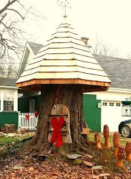making a house gnome house from tree stump gnomes nook with hinged door making a