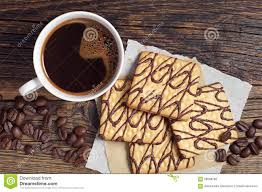 Dark Wooden Table Top Coffee With Square Cookies Stock Photo Image 58568268
