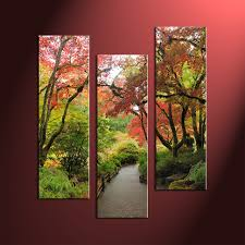 Prints Home Decor 3 Piece Scenery Green Trees Canvas Art Prints