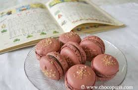 macarons with dark chocolate and candied ginger filling