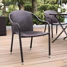 palm harbor brown outdoor wicker stackable chairs set of 4 crosley