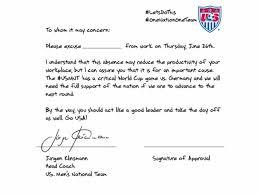 klinsmann writes excuse note so soccer fans can skip work for u s