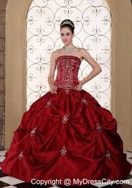 wine red strapless pick ups wedding gown 2013 corset back