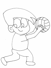cartoon volleyball ready service coloring download