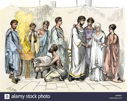 sacrifice of a ram for a marriage ceremony in ancient rome stock