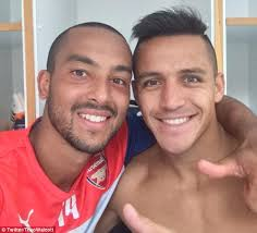 alexis sanchez wife theo walcott poses with arsenal new boy alexis sanchez and warns