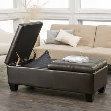 Brown Storage Ottoman Merrill Double Opening Chocolate Brown Leather Storage Ottoman By
