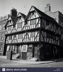 1950s historical picture of ancient tudor building housing a