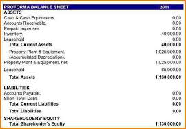 Pro Forma Financial Statements Excel Template 10 Pro Forma Balance Sheet Writable Calendar