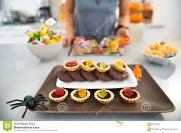 closeup on horribly tasty delicious halloween treats on table
