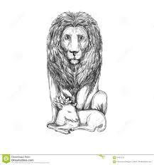 lion watching over lamb tattoo stock illustration image 91031210
