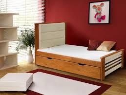 lit enfant en bois massif avec tiroirs et t礫te de lit en 礬co cuir