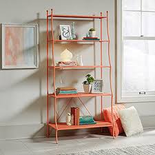 Sauder Bookcase With Glass Doors by Sauder Eden Rue Coral 5 Shelf Metal Bookcase 419425 The Home Depot
