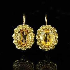 citrine earrings yellow gold vintage large oval citrine dangle earrings orospot