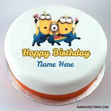 minion birthday cake write name on minions happy birthday cake