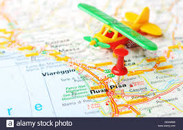 Pisa Italy Map by Close Up Of Pisa Italy Map With Red Pin And Airplane Travel