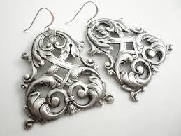 Black And Silver Chandelier Earrings Silver Chandelier Earrings Marie Antoinette Gothic Chandelier