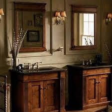 Rustic Bathroom Vanities For Vessel Sinks Rustic Bathroom Vanity Cabinets With Copper Vessel Sink And Faucet