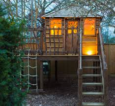 good looking wooden playhouse in exterior rustic with building
