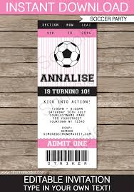 soccer ticket invitations birthday party template