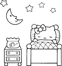 lovely sleeping hello kitty coloring page cute pages of