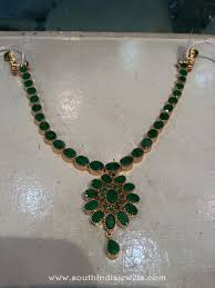 emerald stone necklace jewelry images Gold emerald attigai from shubham jewellers south india jewels jpg