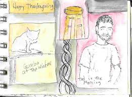 thanksgiving sketches painted cats