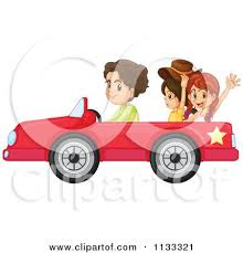 cartoon convertible car cartoon of a boy and girls in a red convertible car royalty free