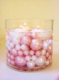 unique vase fillers 80pc pack jumbo light pink pearls and white