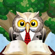 wise eagle owl in teacher clothes sitting with book against oak