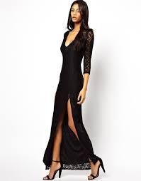 autumn winter new fashion black v neck full length lace