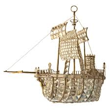 Crystal Ship Chandelier Brass Frame Boat Chandelier With Crystal Decoration At 1stdibs