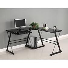 Where Can I Buy A Roll Top Desk Amazon Com Walker Edison Soreno 3 Piece Corner Desk Black With